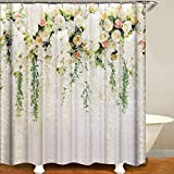 "Decdeal Shower Curtain Flowers Trees Print Blackout Curtains Waterproof Mildew-Proof Bathroom Curtain 71""x71"""