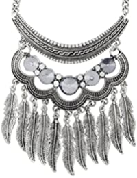 The Jewelbox Tribal Bohemian Statement Grey Crystal Oxidized Silver Long Necklace Chain Girls Women