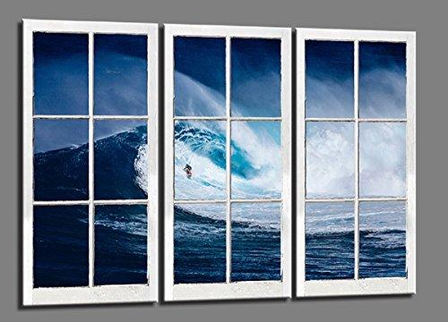 Visario 120 x 80 cm Bild auf Leinwand Fenster Surfer Blick 4405-SCT deutsche Marke und Lager - Die Bilder/das Wandbild/der Kunstdruck ist fertig gerahmt