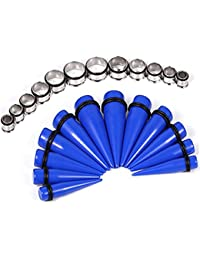 Royal Blue Big Gauges kit 00G-20mm Tapers and Tunnels 24 Pieces