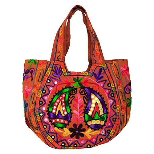 Kutch Handicraft Handmade Embroidered Traditional Multicolor Cross Body Big Shopping Shoulder Bag for Women  available at amazon for Rs.329