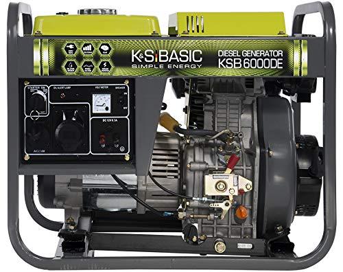 Könner & Söhnen KSB 6000DE Stromerzeuger, 10,0 PS 4-Takt Dieselmotor, Kupfer Alternator, Automatischer Spannungsregler (AVR), 5500 Watt, 16A, 32A, 230V Generator, für Haus, Garage oder Werkstatt
