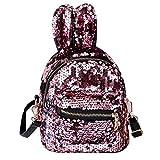 Mädchen Mini-Rucksack Mode Paillette Glitter Schulter-Rucksack Multi Usage Bling Zipper Travel Daypack Mit Niedlichen Ohren Schulranzen