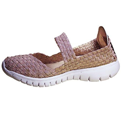 FERETI Femme Poids Léger Chaussures Sport d'eau Tissées Élastique Rose Respirant Sandales