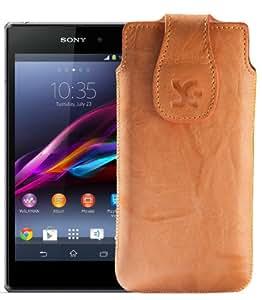 Original Suncase Tasche für / Sony Xperia Z1 Compact / Leder Etui Handytasche Ledertasche Schutzhülle Case Hülle / in wash-orange
