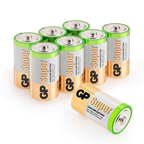 Batterien D/Mono / LR20, GP Super Alkaline, 1,5V, 8 Stück Monozellen im Vorratspack GP Batteries, besonders langlebig und auslaufsicher