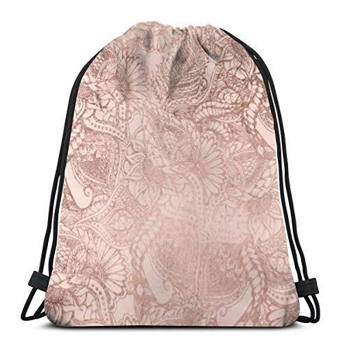 Desing shop Modern Rose Gold Floral Illustration On Blush Pink 3D Print Drawstring Backpack Rucksack Shoulder Bags Gym Bag for Adult 16.9