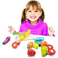 Hanmun Kids Wooden Cutting Toy Set Wooden Fruit Cutting Vegetables Toys Educational Toys 13pcs For Children Kids Kitchen Food Pretend Play