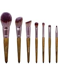 Coffret 7 pinceaux à maquillage avec étui de rangement - Texamo Lunay - Poils brevetés MCF (Micro Crystal Fiber...