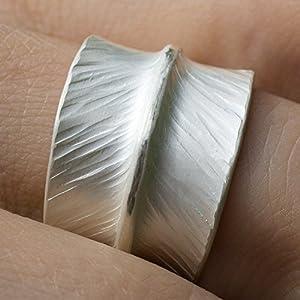 Breiter Ring Silber Bandring gehämmerte ausgefallene Ringe Silberring Schmuck