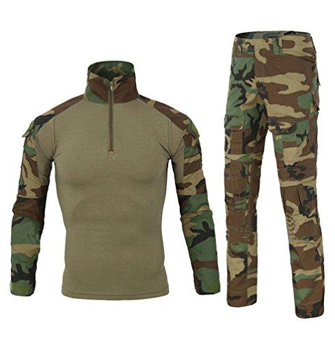 Yuandian uomo tattico esercito mimetici uniforme set tuta maniche lunghe caccia camicie magliette + combat pantaloni 2 pezzi escursionismo campeggio all'aperto giungla camuffamento l