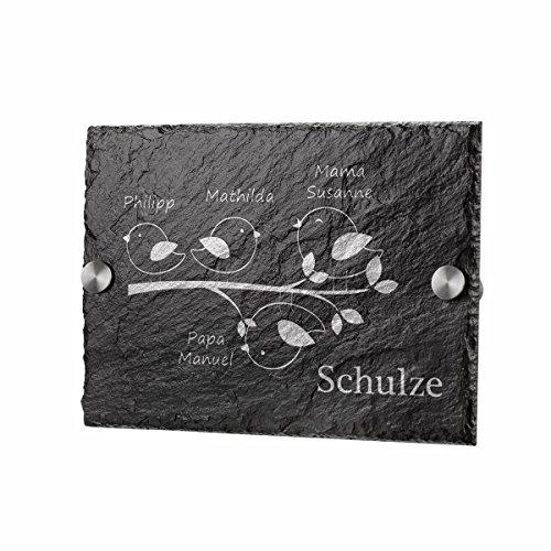 polar-effekt Schiefertafel Personalisiertes Türschild - Geschenkidee für Ehepaare und Familien zum Einzug - Namensschild Schieferplatte 20x14cm mit Gravur - Motiv Vogelfamilie