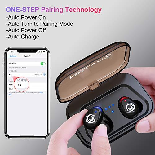 Bluetooth Kopfhörer in Ear V5.0, YATWIN Sport Kabellos/Wireless Kopfhörer mit Portable Ladebox 3000 mAh,135 Stunden Spielzeit, IPX5 Wasserdicht, Noise Cancelling Ohrhörer Für alle Bluetooth-Geräte - 3