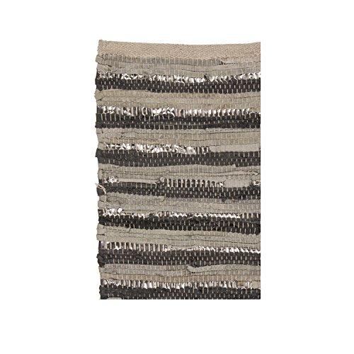 Nor hell greydark grau/silber gestreift gewebt Leder/Baumwolle Teppich, 70x 140