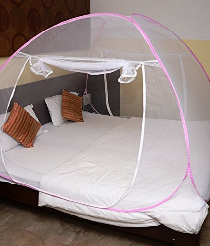 House of Quirk Mosquito Net Double Bed foldable Pink