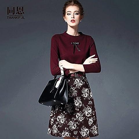 WZH Bodycon Mostrar delgada alrededor del cuello de la mujer suéter vestido Floral-vestido falda abajo . black . xxl