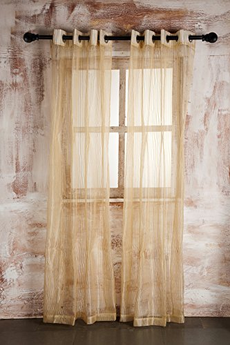 SHEER CURTAIN BEIGE SELF STRIPED DOOR