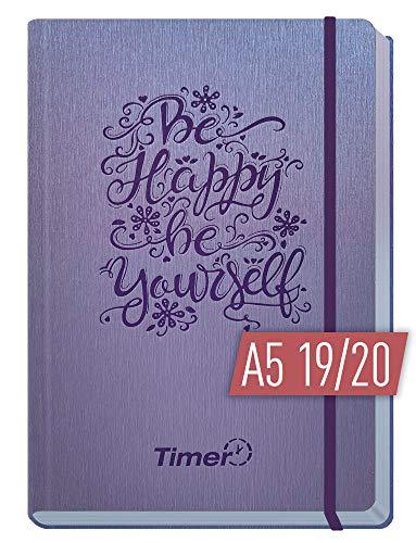 A5 Kalender 2019/2020 [Be happy] Terminplaner 18 Monate: Juli 2019 - Dez. 2020 | Terminkalender, Wochenplaner, Wochenkalender, Organizer mit Gummiband und Einstecktasche ()