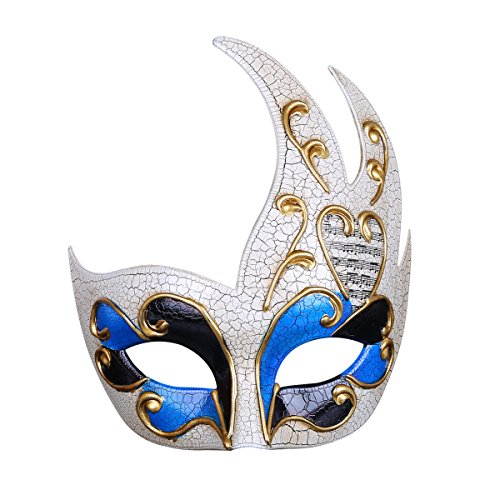 TINGTING Venetian Flame Styling Cracked Herren Maske Party Party Performance Maske Festival des Masques D'halloween,Blue
