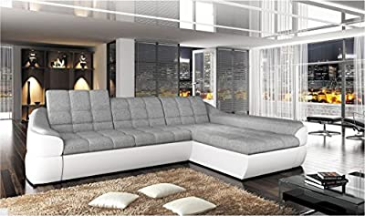 Infinity Mini - Faux Leather / Fabric Corner Sofa Bed Modern Curvy Shape - White Grey- Right Facing from BMF