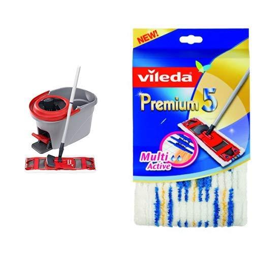 Vileda Premium 5 Komplett-Set, extra breiter Bodenwischer und Eimer & Vileda 140780 Premium 5 Wischbezug - schnell und einfach reinigen - extrabreite Wischfläche - hochwertiger Mikrofaserbezug