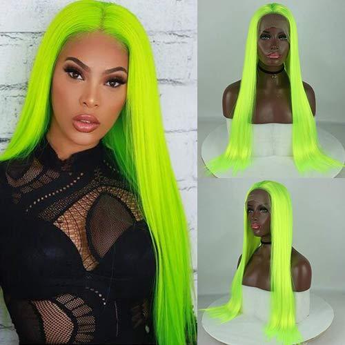 Peluca de pelo sintético fluorescente verde de aspecto natural sin pegamento, peluca de seda larga con encaje frontal para mujeres y niñas, parte libre resistente al calor, fibra de Halloween