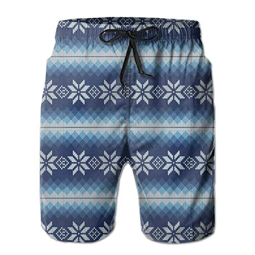 ZTLKFL Men Swim Trunks Beach Shorts,Traditional Scandinavian Needlework Inspired Pattern Jacquard Flakes Knitting Theme L (Jacquard Sleeve Shirt)