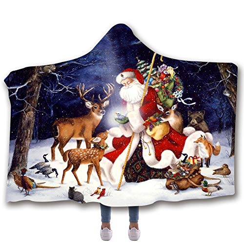Liebhaber Adult Sweatshirt (SXELODIE Fashion 3D Thicken Hooded Blanket Printed Christmas Graphic Hooded Cloak Double Layer Adult and Child,child130(H) x150(W))