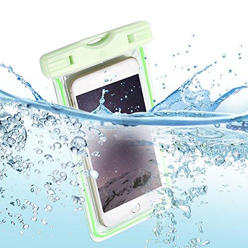 Pochette Étanche Certifiée IPX8 , E-Lush Coque Housse Etui Sac étanche Universel Waterproof Imperméable Sac Étanche Protection Contre la Submersion Enveloppe Coque Case Cover pour Apple iPhone 6 / 6S  Vert