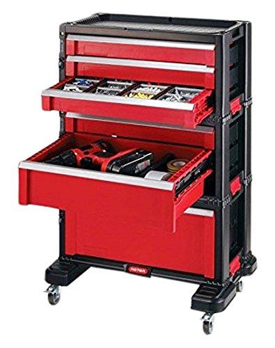 Preisvergleich Produktbild KETER Werkzeugkoffer Werkzeugwagen Kiste 6 Schubladen mit Lenkrollen