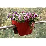 Macetas para Colocar en Barandillas - Para Balcones y Vallas de Jardín - Extra Grande, Rojo