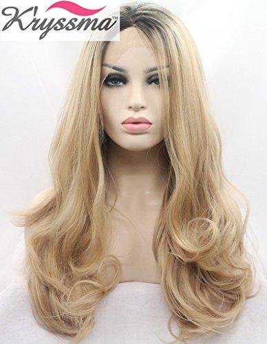 K 'ryssma naturel Ombre Blond Perruques Lace Front pour femme longue ondulée réaliste cheveux synthétiques racines Best foncé Perruques UK moitié main Tied chaleur resistsnt 55,9 cm en fibre