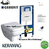 Geberit Duofix Vorwandelement, KERAMAG Renova Nr. 1 Plan Tiefspül WC Spülrandlos Komplettset + Deckel Softclose, Keratect Beschichtung Drückerplatte weiss
