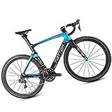 Bicicletta da Strada, Materiale in Fibra di Carbonio/Livello di Gara, Adatto per Persone di Altezza, Bicicletta per Famiglie con Ciclo Sportivo, Blu/Rosso,Blue,52CM
