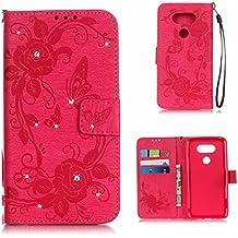 BoxTii® Coque LG G5, Housse Etui en Cuir pour LG G5 [avec Gratuit Protection D'écran en Verre Trempé], LG G5 Case Coque Bumper Cover (#2 Rose)