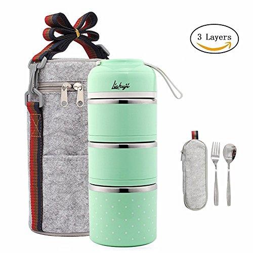 Lunchbox/Bento Box Edelstahl Lebensmittel Container Isolierung brotdose,mit tasche und Besteck Große Bento-box