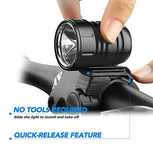 LED Fahrradlicht, USB Wiederaufladbar Taschenlampe Frontlicht Set Super Helle 1200 LM Wasserdichte LED Fahrradbeleuchtung mit Akku-Pack und Rücklicht - 2