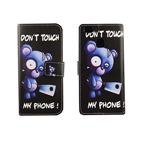Housse Ordinateur Portable style cadre Flip Cover Case Étui de protection Motif Wallet Don't touch my Phone Bär mit Beil