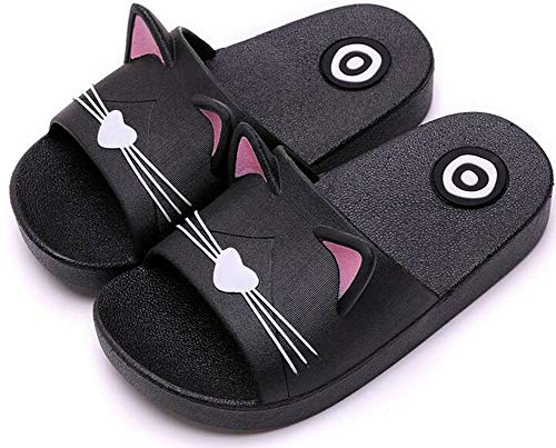 Kids Girls Cute Cat Non-Slip Beach Slippers Boys Slip on Summer Sandals Womens Mens Quick-Dry Aqua Holiday Pool Shoes flip Flops Casual Mules for Family Size