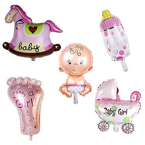 GGG Mädchen Kinderwagen Fütterungsflasche Folieballon Set Party Baby Dusche Deko 5 Stück