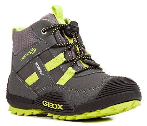 Geox J847GA Atreus WPF Jungen Stiefel, Übergangsschuh, Wasserdicht, Fleece Fütterung, Atmungsaktiv, Wechselfußbett Grau (DK Grey/Lime), EU 28