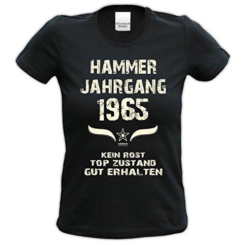 Damen Motiv T-Shirt :-: Geburtstagsgeschenk Geschenkidee für Frauen zum 52. Geburtstag :-: Hammer Jahrgang 1965 :-: Girlie kurzarm Shirt mit Geburtstags-Aufdruck :-: Farbe: schwarz Schwarz