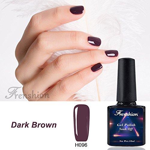 Frenshion Semi di smalto per unghie gel 10ml Soak off Nail Kit per manicure per smalto LED UV Marrone scuro H96