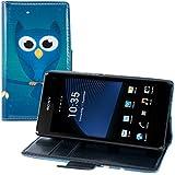 kwmobile Hülle für Sony Xperia Z1 Compact - Wallet Case Handy Schutzhülle Kunstleder - Handycover Klapphülle mit Kartenfach und Ständer Eule Nacht Design Blau Türkis