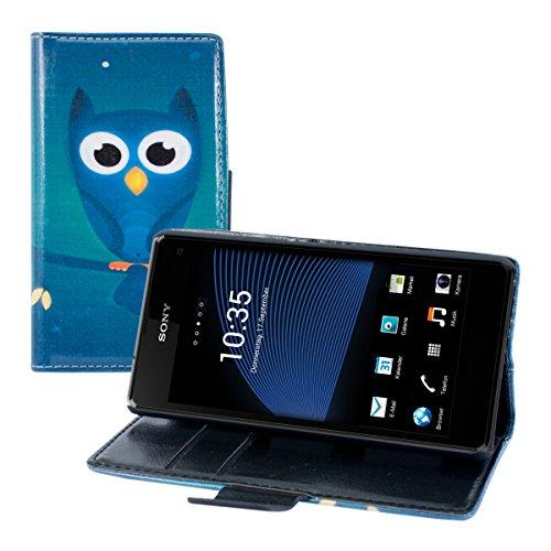 kwmobile Funda para Sony Xperia Z1 Compact - Wallet Case plegable de cuero sintético - Cover con tapa tarjetero y soporte Diseño Búho en la noche en azul turquesa