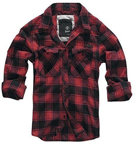 Brandit camicia a quadri uomo flanella hemd - rosso-nero, m
