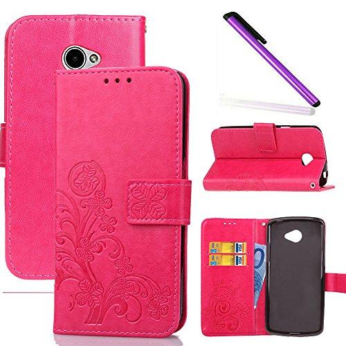 COTDINFOR LG K5 Hülle für Mädchen Elegant Retro Premium PU Lederhülle Handy Tasche im Bookstyle mit Magnet Standfunktion Schutz Etui für LG K5 Clover Red SD