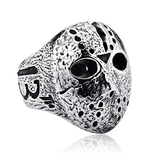 Qiuaii Jason Maske Ring Herren Vintage Edel Stahl Ring Silber, Größe 59 (18.8) Adult-jason Maske