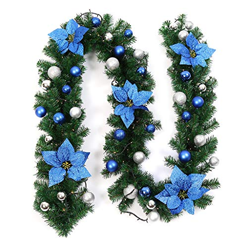 WE-WHLL 2.7m Ghirlanda di Pino Verde Artificiale Ghirlanda Natalizia Appeso Ornamento Paillettes con Fiori Finti Palle di Natale Alberi Decorazione di Nozze Festa
