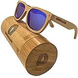 Gafas de sol polarizadas y flotantes de madera de bambú para hombres y mujeres, vintage de madera Gafas de sol estilo Wayfarer con lentes polarizadas y caja de bambú redondeada (Azul hielo)